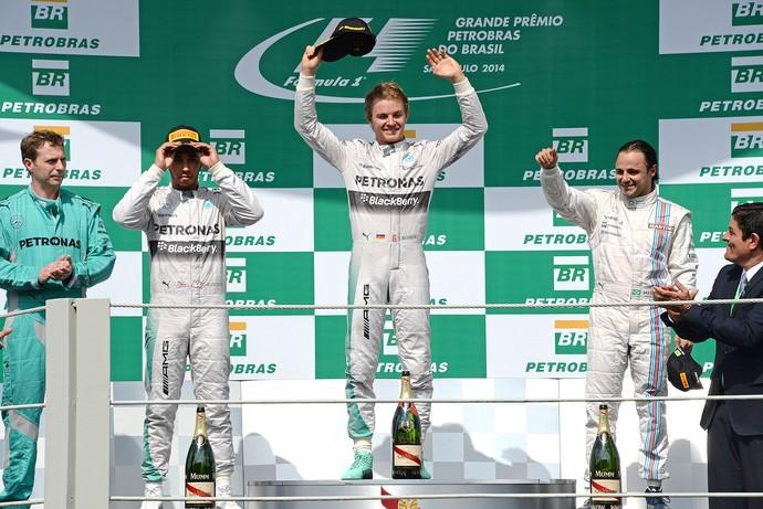 GP Brasil Fórmula 1 - Nico Rosberg, Massa, Hamilton (Foto: AFP)