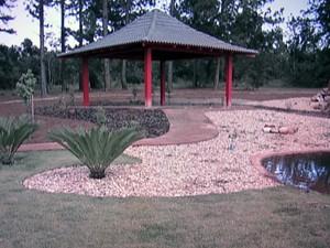 Vista geral do Jardim Japonês, inaugurado no Jardim Botânico de Brasília (Foto: Rede Globo / Reprodução)