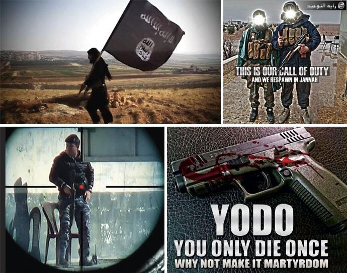 """Viralização do ódio: o Estado Islâmico deseja chamar a atenção dos jovens por meio de vídeos divulgados nas redes sociais que lembram cenas de videogame e filmes de Hollywood. Acima, à direita, um cartaz diz: """"Esse é nosso Call of Duty e nós nasceremos de novo em Jannah [o paraíso islâmico]"""" (Foto: reprodução, divulgação)"""