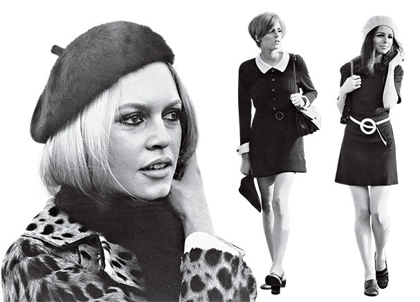 Saia com shape em A + boina = dress code 60's   (Foto: Stroud/Getty Images, Roy Jones/Getty Images)