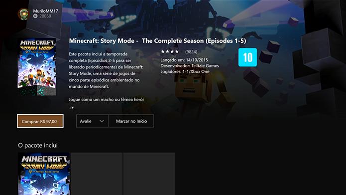Pague o Minecraft: Story Mode e faça o download (Foto: Reprodução/Murilo Molina)