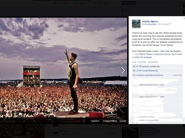 Post feito na página da banda no Facebook nesta quinta-feira (1) (Foto: Reprodução)