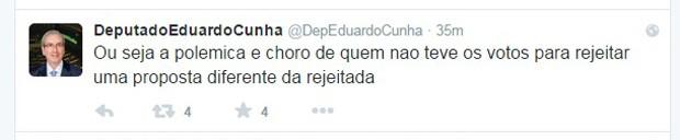 Cunha chama de 'choro' tentativa de partidos de suspender reforma política (Foto: Reprodução/Twitter)