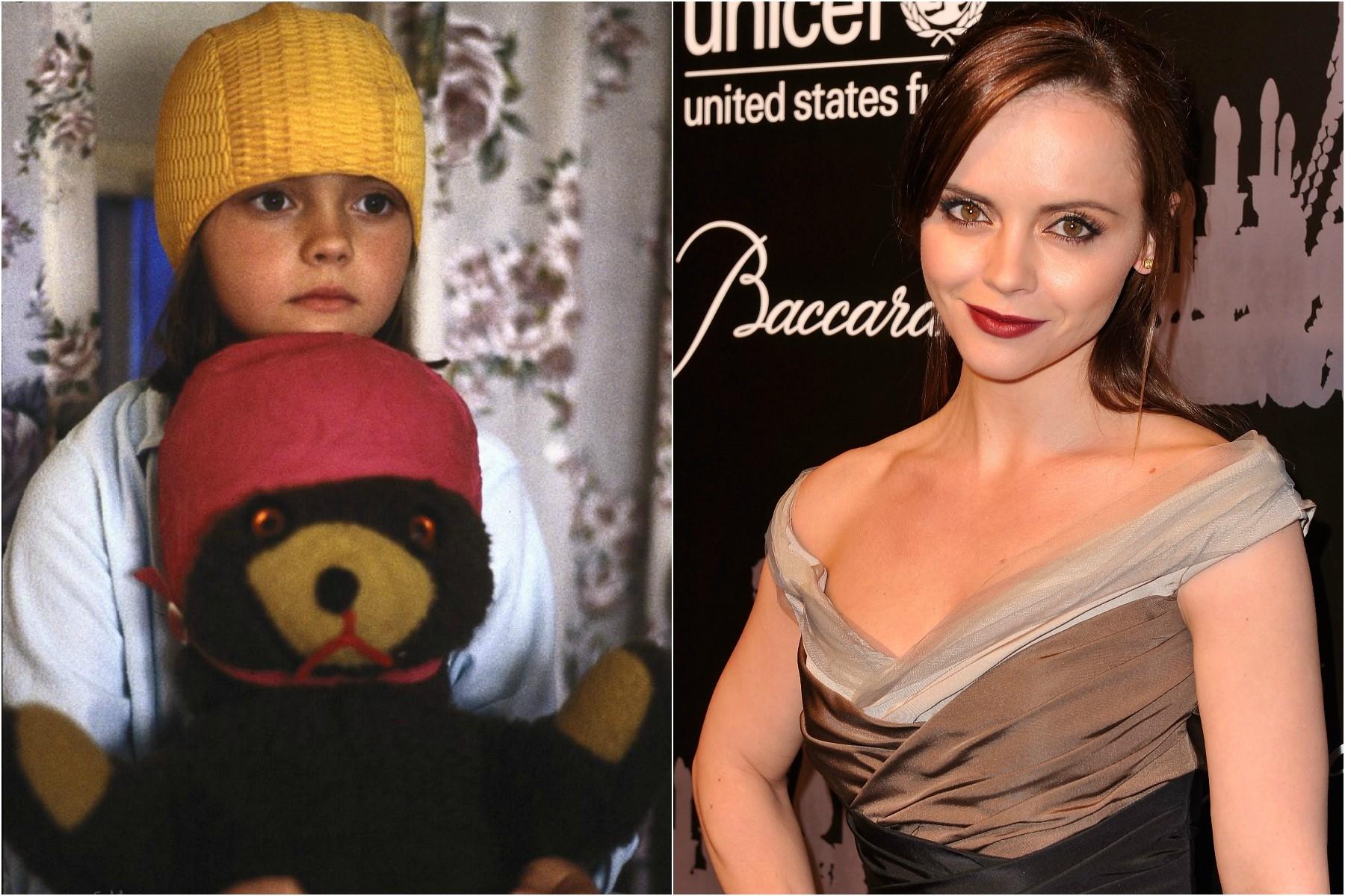O primeiro papel de destaque de Christina Ricci no cinema foi em 'Minha Mãe é uma Sereia' (1990), lançado quando a atriz tinha 10 anos. Agora ela está com 34. (Foto: Divulgação e Getty Images)