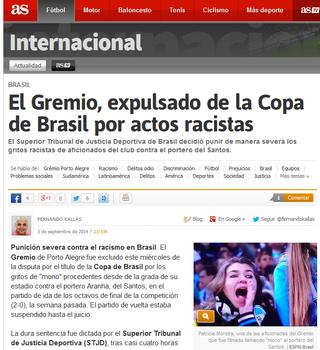 gremio stjd excluído copa do brasil imprensa internacional (Foto: Reprodução)
