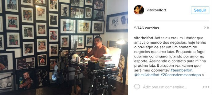 BLOG: Vitor Belfort faz post no Instagram em que diz assinar o contrato para a próxima luta