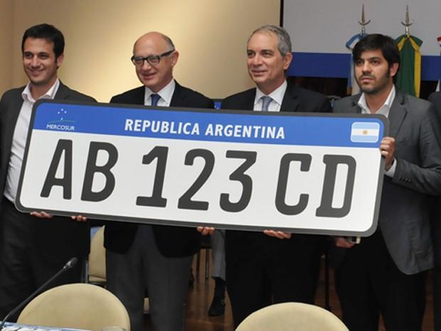 Modelo de placa do Mercosul (Foto: Divulgação/Ministério das Relações Exteriores Argentina)
