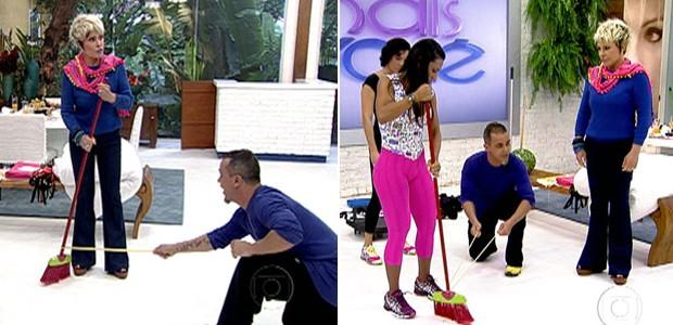 Fortaleça sua musculatura com a ajuda de uma vassoura e um elástico (Foto: Mais Você / TV Globo)