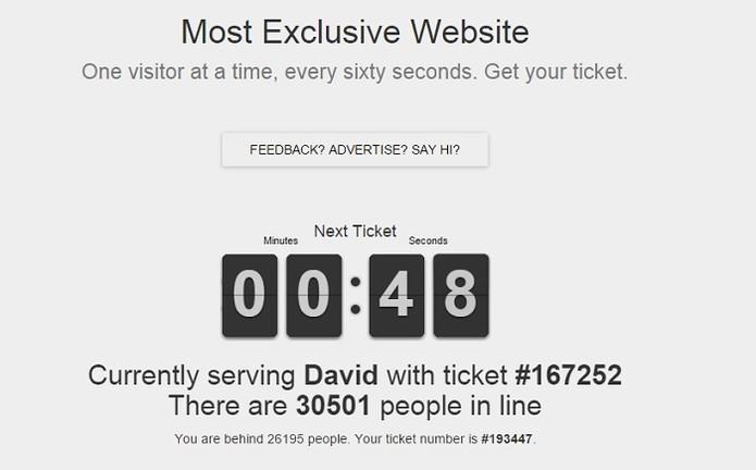 Site utiliza um sistema de ticket para organizar fila (Foto: Reprodução)