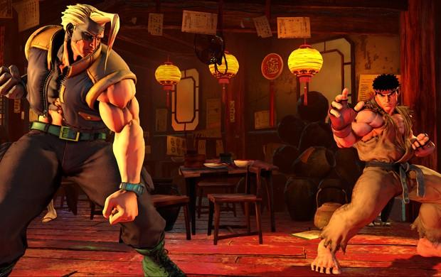 Charlie encara Ryu em cena de 'Street Fighter V' (Foto: Divulgação/Capcom)