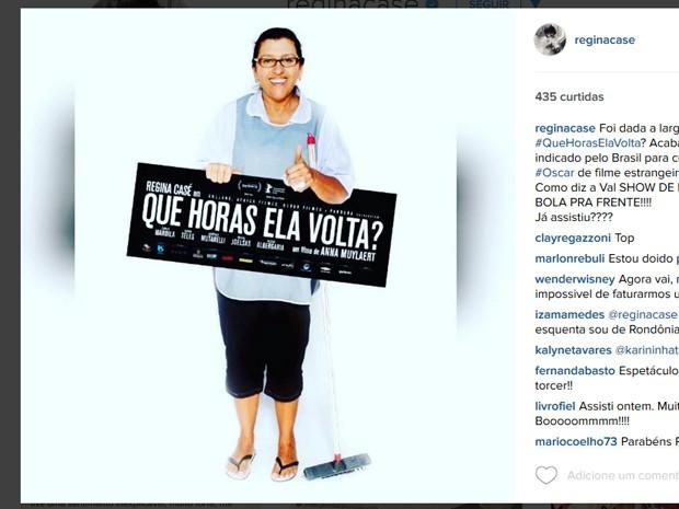 Regina Casé comemora escolha de 'Que horas ela volta?' para representar o Brasil no Oscar (Foto: Reprodução/Instagram)