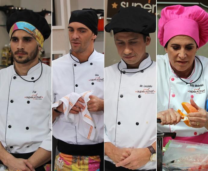 Fritadeira! Veja reação de Fiuk, Giba, MC Leozinho e Totia Meireles após prova (Foto: Mais Você/Gshow)