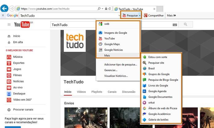Acesse o botão de pesquisa para fazer buscas em outras ferramentas (Foto: Reprodução/Barbara Mannara)