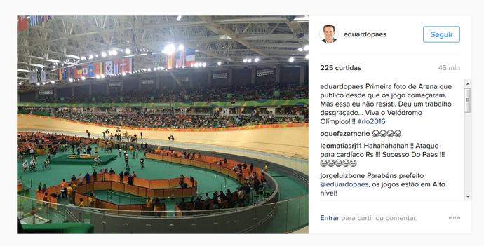 Prefeito Eduardo Paes vibra com o Velódromo Olímpico em seu perfil no Instagram (Foto: Reprodução Instagram)
