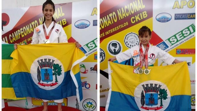 Atletas santarenas Monã e Manuela Oliveira estão participando Campeonato Nacional de Karatê Interestilos (Foto: André Carlos Oliveira/Arquivo pessoal)