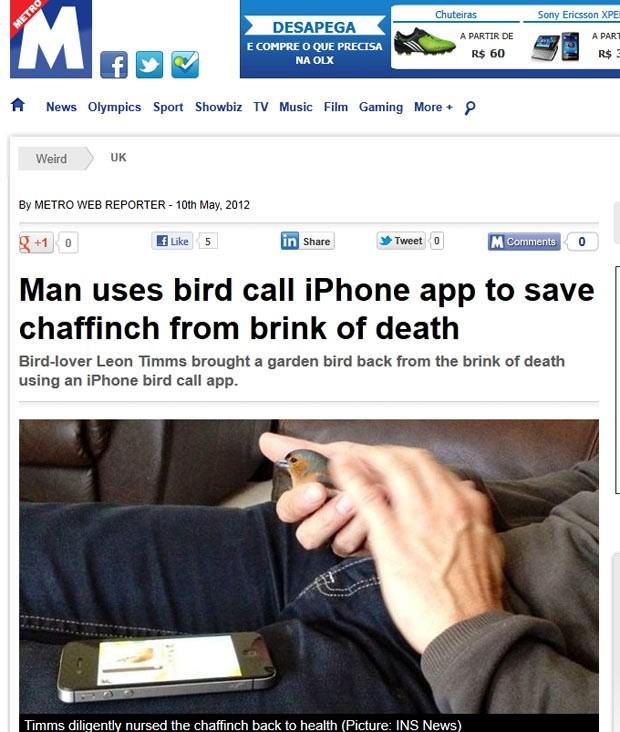 Leon Timms colocou canto de tentilhão no iPhone e 'salvou' passarinho doente. (Foto: Reprodução/Metro)