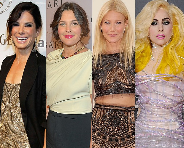 Beleza - Sandra Bullock, Drew Barrymore, Gwyneth Paltrow e Lady Gaga (Foto: Getty Images/Agência)