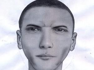 Retrato falado de um dos agressores (Foto: Divulgação / Polícia Civil)