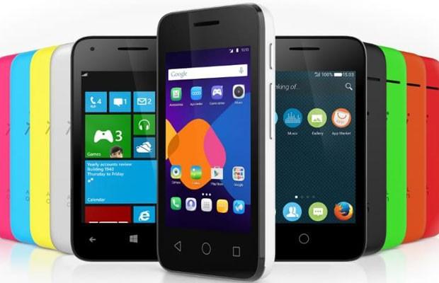 Linha de smartphones da Alcatel Onetouch, Pixi 3, que é compatível com os sistemas operacionais Android, Windows e Firefox. (Foto: Divulgação/Alcatel)