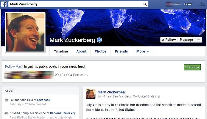 O atalho /4 com a URL do Facebook leva ao perfil de Zuckerberg na rede (Foto: Reprodução/Facebook)