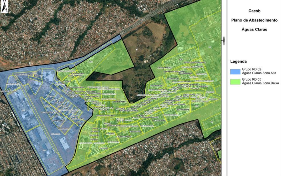 Mapa mostra divisão de Águas Claras, no DF, para o regime de racionamento de água (Foto: Caesb/Reprodução)
