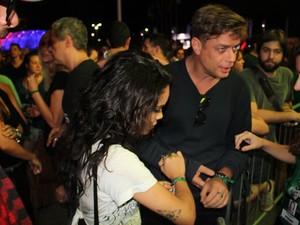 Fabio Assuncao e Carol Macedo no Rock in Rio (Foto: Rogerio Fidalgo/AgNews)