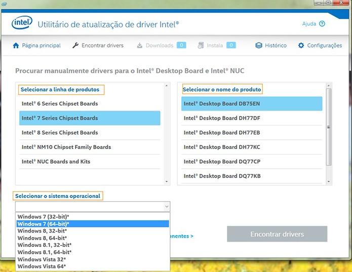 Escolha o seu processador Intel e selecione o botão de Encontrar Drivers