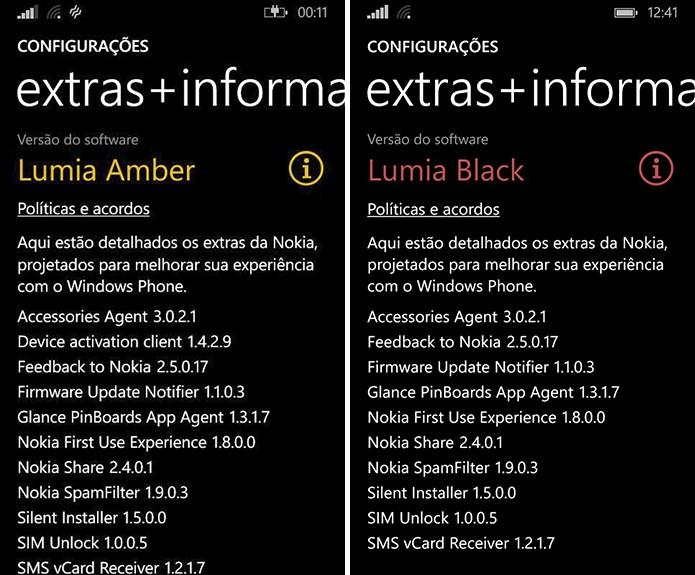 Windows Phone exibe o firmware e atualização da Nokia instalado no smartphone (Foto: Reprodução/Elson de Souza)