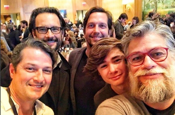 Marcelo Serrado, Rodrigo Santoro, Vladimir Brichta, Fábio Assunção e o filho: selfie em Nova York (Foto: Reprodução/ Instagram,)
