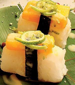 Sushi de manga, coco e limão (Foto:  )