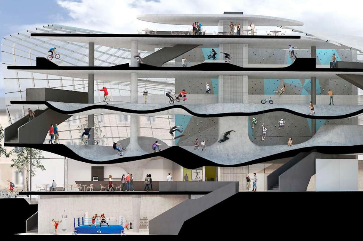 Prdio na Inglaterra vai dar lugar a skatepark de cinco andares, com rampas interligadas (Foto: Divulgao/Guy Hollaway Architects)