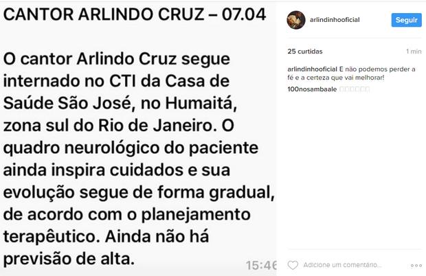 Arlindo Cruz (Foto: Instagram / Reprodução)