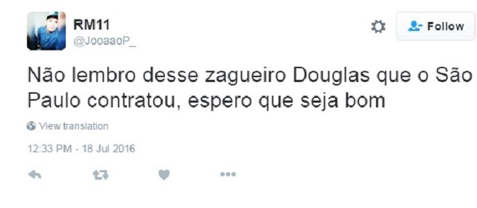 Torcedores comentam sobre Douglas, provável reforço do São Paulo (Foto: Reprodução)