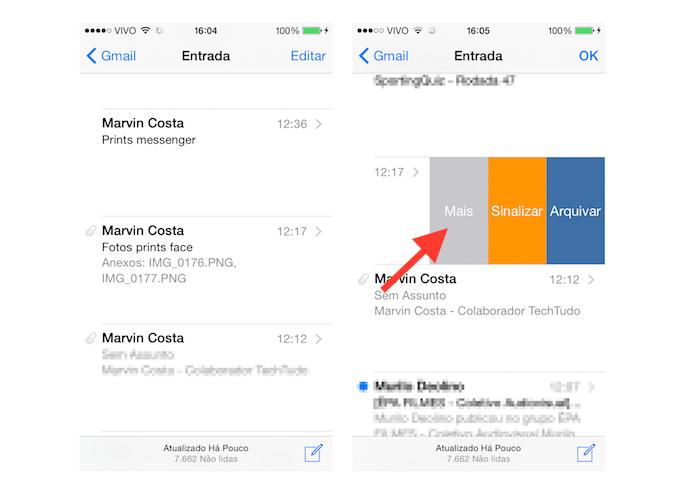 Acessando as configurações extras para e-mails no Mail do iOS 8 (Foto: Reprodução/Marvin Costa)