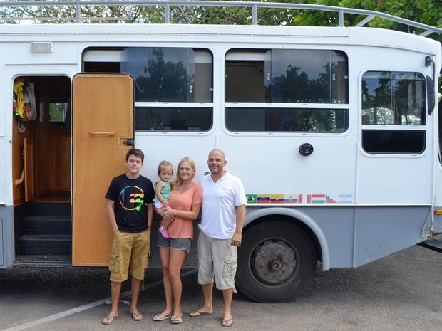 Família de argentinos passa por Roraima durante excursão pela América do Sul (Foto: Jackson Félix/ G1 RR)