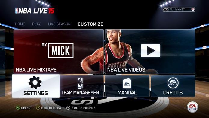 NBA Live 15: como ajustar regras e dificuldade do game (Foto: Reprodução/Murilo Molina)