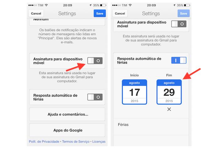 Ativando a mensagem de férias do Gmail para iPhone (Foto: Reprodução/Marvin Costa)