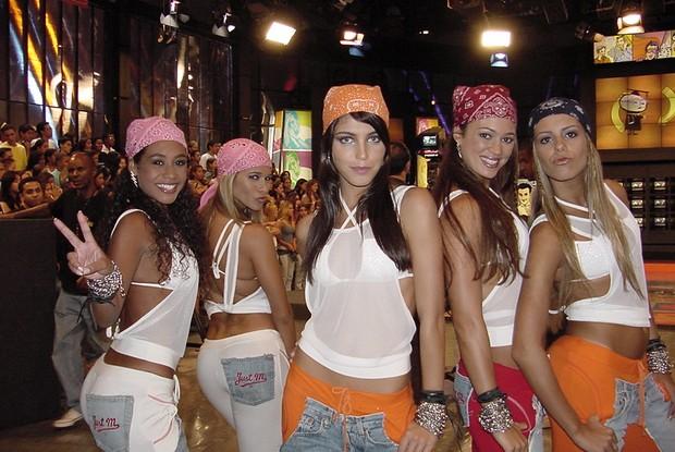 No estilo dança de rua, Coleguinhas usaram calça e bandana nos primeiros anos de Caldeirão (Foto: Arquivo/Caldeirão)