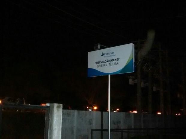 Explosão foi registrada na Subestação Jockey na noite desta quinta-feira (17)  (Foto: Reprodução/TV Clube)