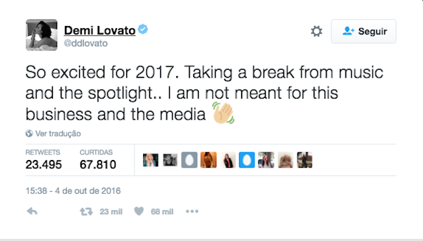 A cantora Demi Lovato anuncia seu período sabático (Foto: Twitter)
