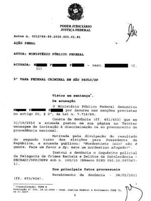 Fac-símile da decisão que condenou Mayara Petruso (Foto: Reprodução/Divulgação)