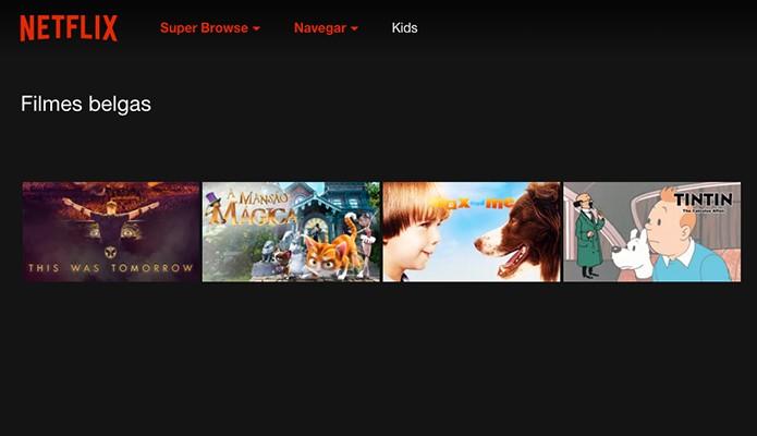 Categoria Filmes Belgas no Netflix, acessada a partir do Super Browser (Foto: Reprodução/Alessandro Junior)