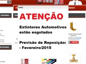Aviso em site de revendedor mostra falta do extintor automotivo ABC (Foto: Reprodução)