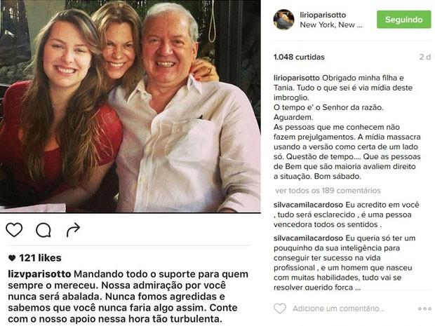 Lirio Parisotto também compartilhou postagem da filha no Instagram (Foto: Reprodução/Instagram)