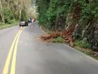 Queda de barreira bloqueia pista da BR-470 na Serra do RS