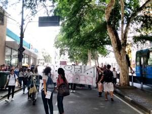 Estudantes realizam ato no Centro de Campinas, SP (Foto: Pedro Oliveira)