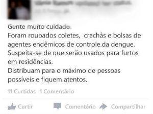 Corrente falsa agentes endemias (Foto: Reprodução/Facebook)