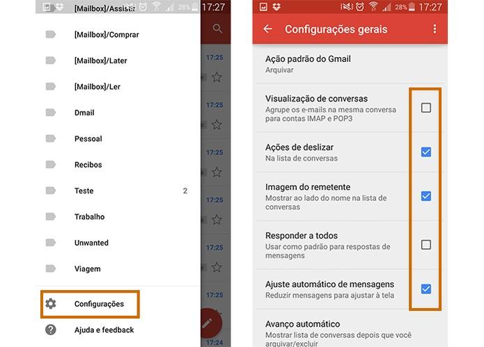 Configure o app do Gmail para funções rápidas no Android (Foto: Reprodução/Barbara Mannara)