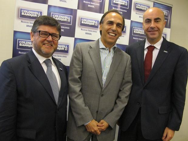 Na foto, os investidores portugueses Vitor Patacas, António Lourenço e Jorge Paulo Fernandes (Foto: Darlan Alvarenga/G1)