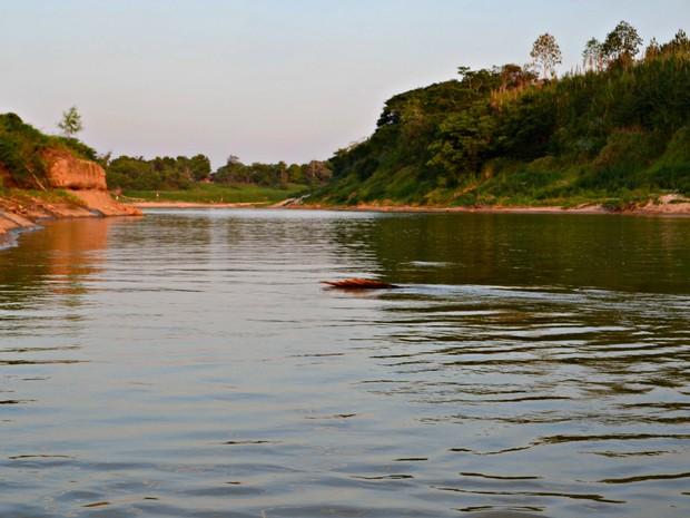 Nível do Rio Acre na capital acreana chegou a 1,42 metro nesta quarta-feira (3)  (Foto: Aline Nascimento/G1)